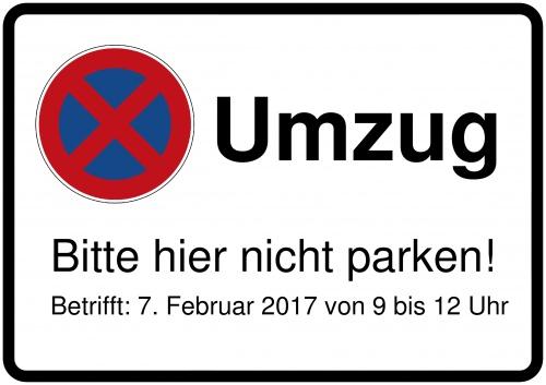 schild selbst drucken umzugsschild bitte nicht parken