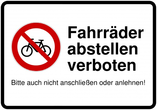 schild selbst drucken fahrrad abstellen verboten. Black Bedroom Furniture Sets. Home Design Ideas