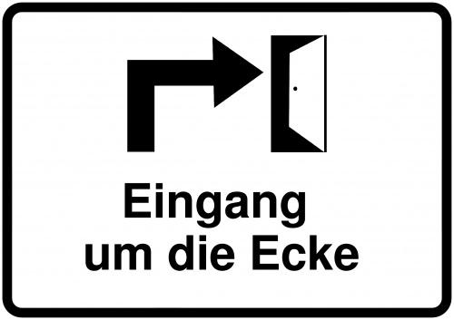 280px-50px_Schild selbst drucken: Eingang um die Ecke (rechts)
