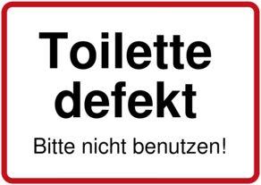 Toilette defekt - Schild downloaden und drucken