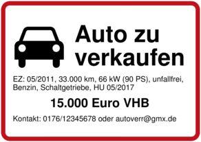 Schild selbst drucken: Auto zu verkaufen